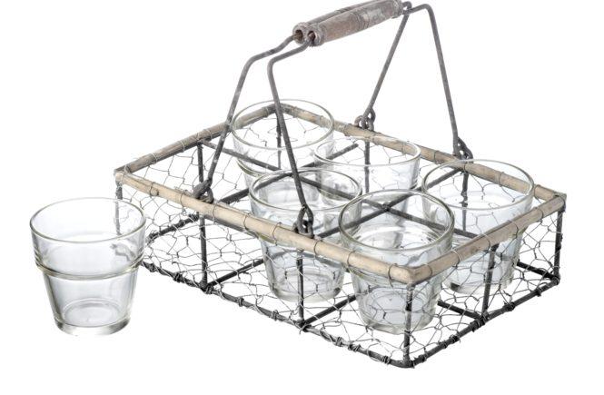 Wire Crate 6 Glass Tea Light Holder