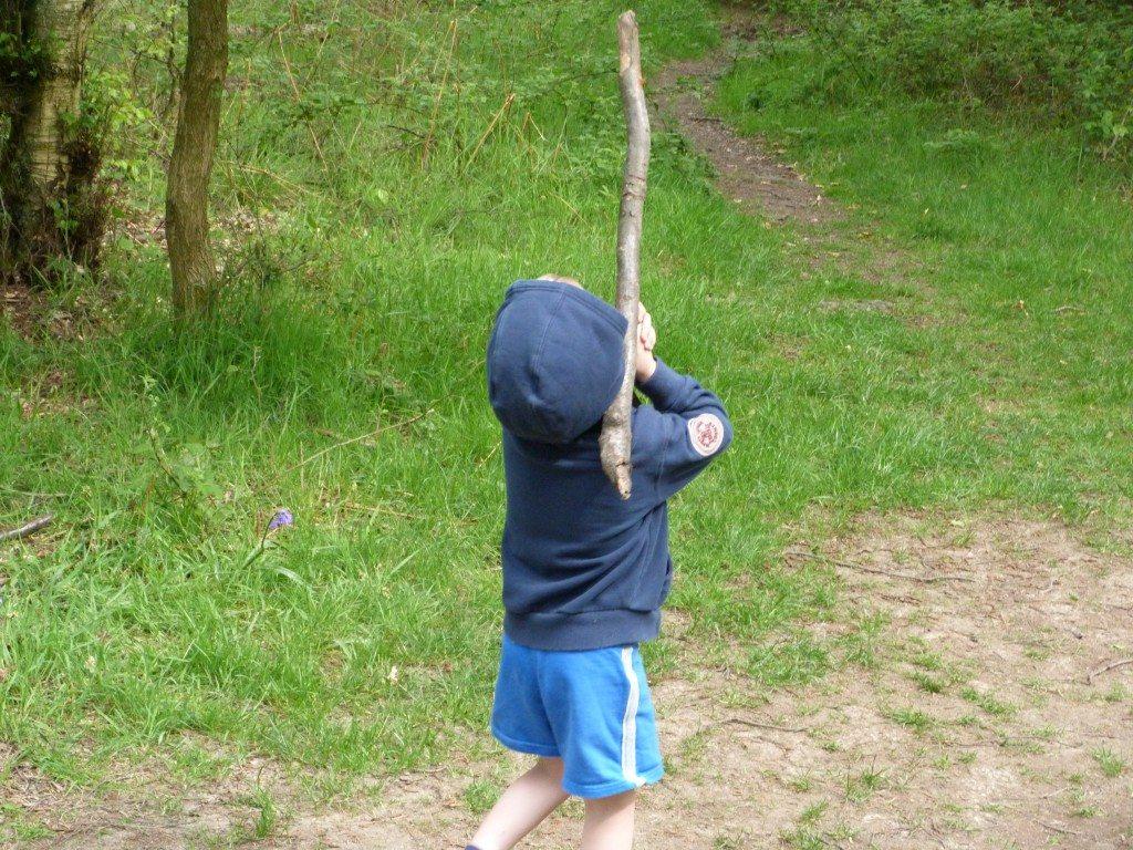 Pick a stick Ethan.. not a log!