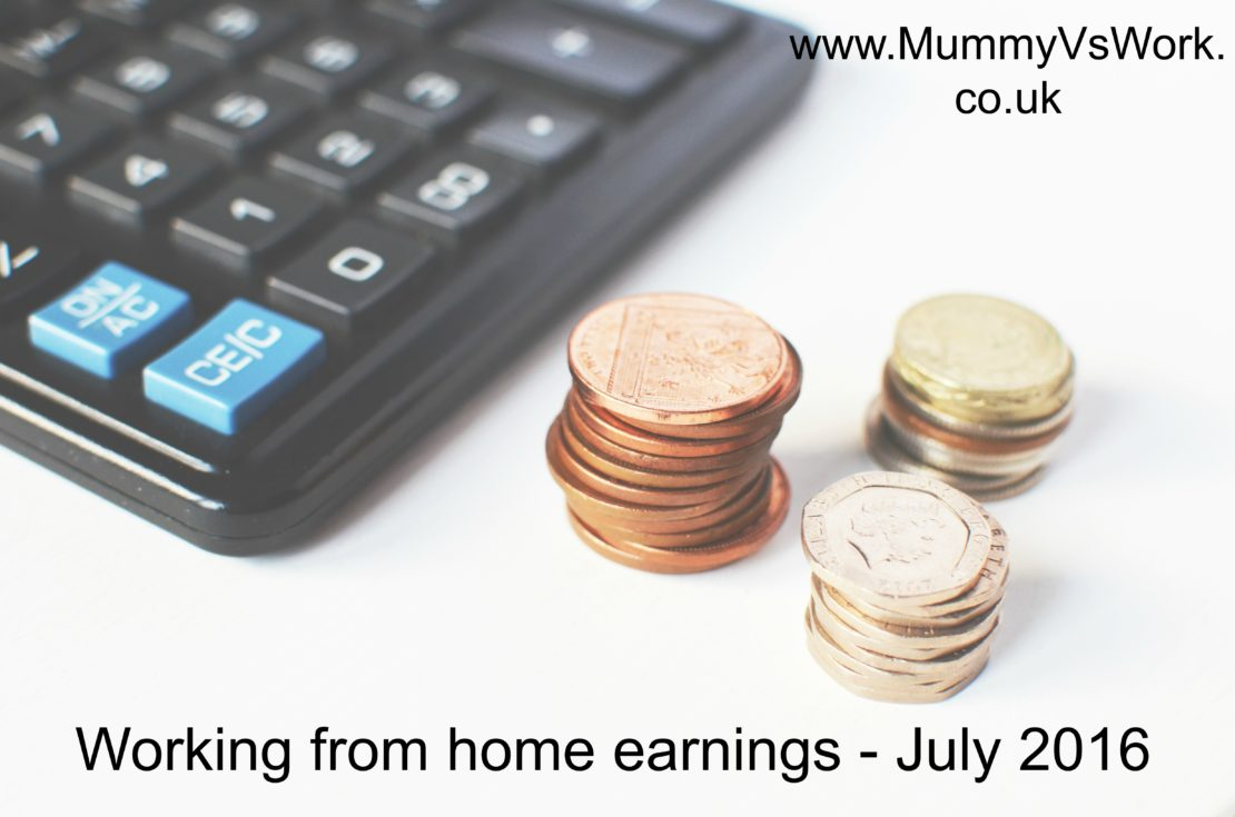 Working from home earnings –  July 2016