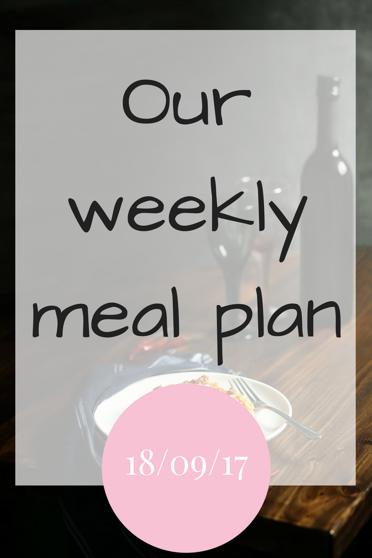 Our weekly meal plan – 18/09/17