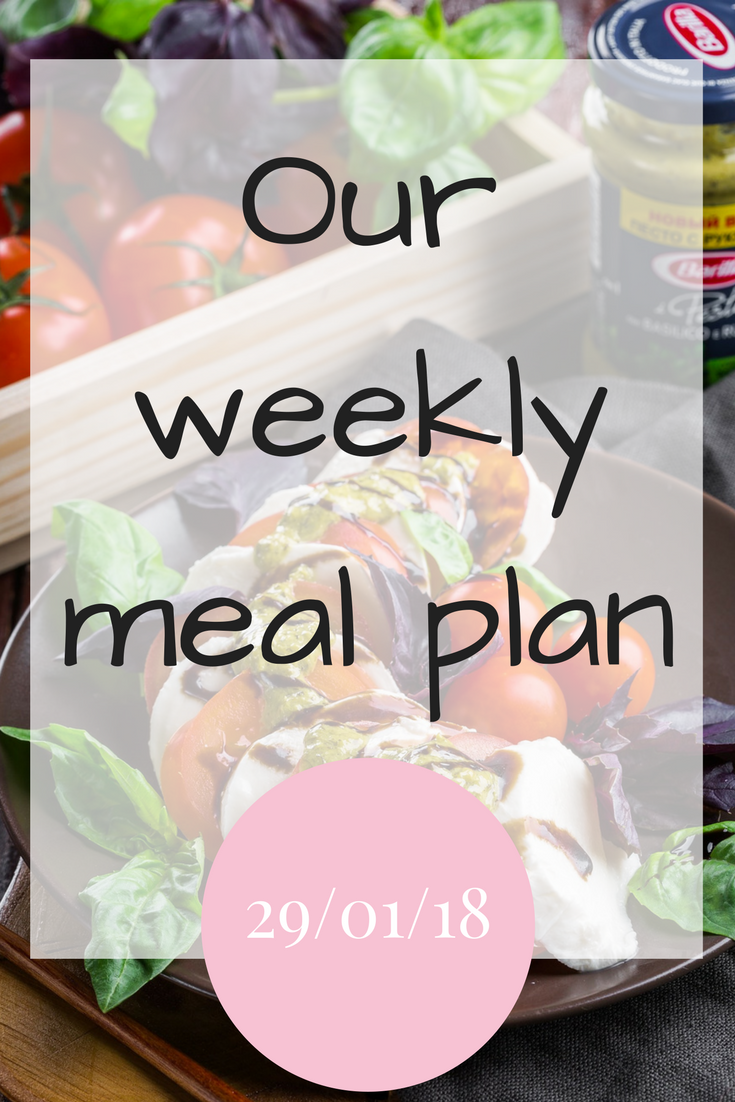 Our weekly meal plan 290118 #MealPlanning #FamilyMeals