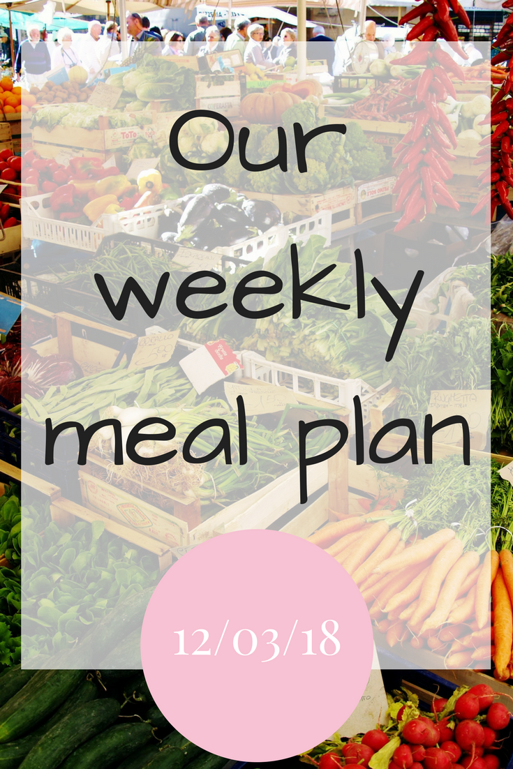 Our family meal plan for the week commencing 12th March 2018