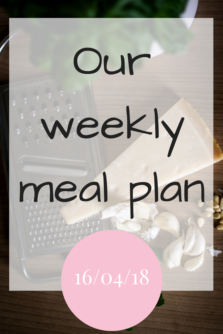Our weekly meal plan for the week 16th April 2018