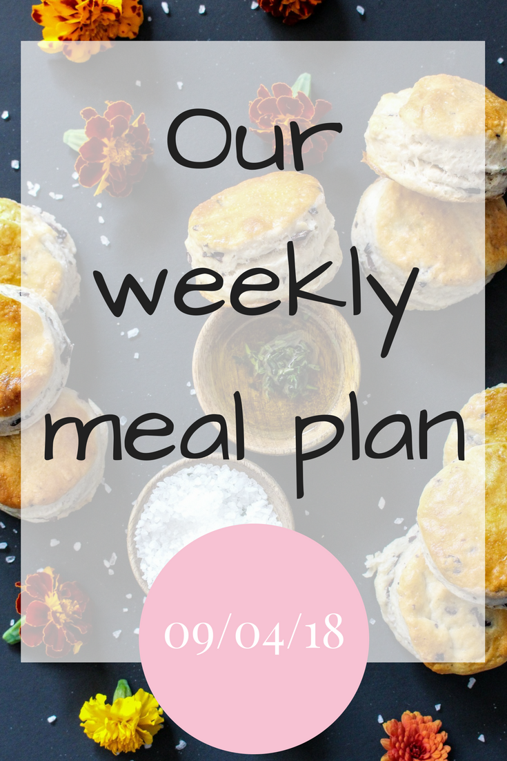 Our weekly meal plan 9th April 2018