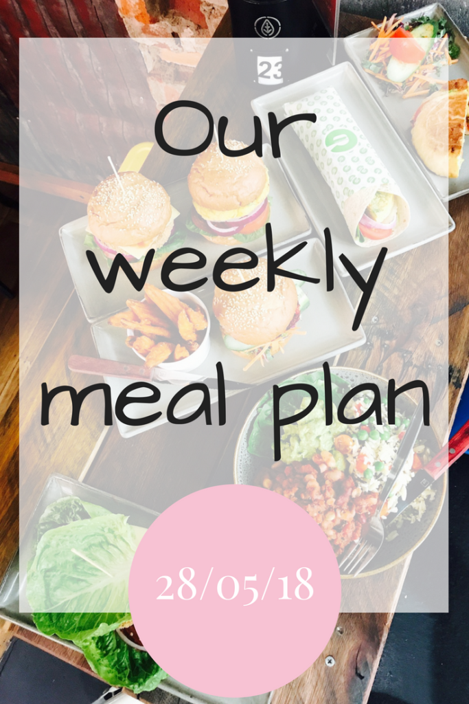 Our weekly meal plan for the week 28/05/18