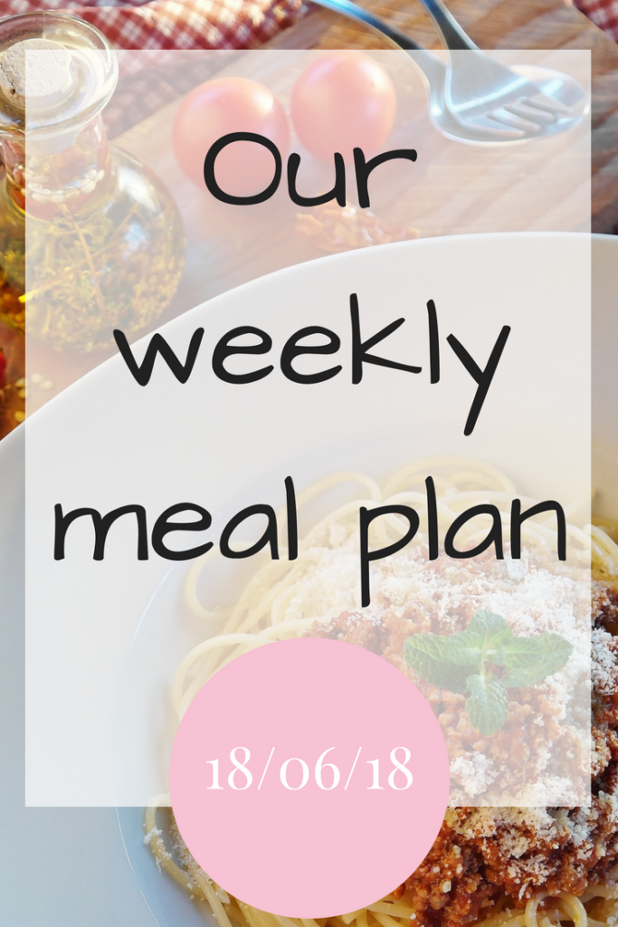 Our weekly meal plan 18th June 2018