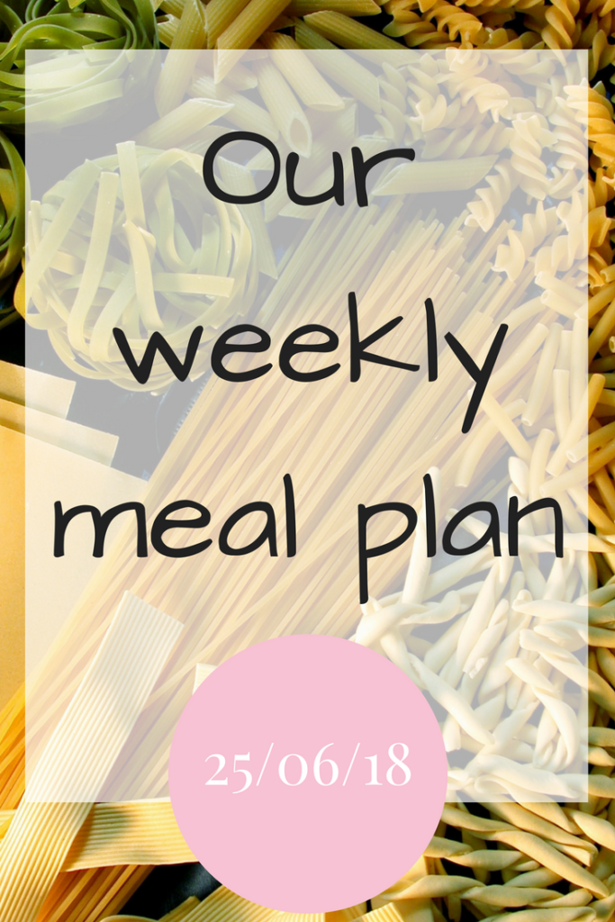 Our weekly meal plan 250618