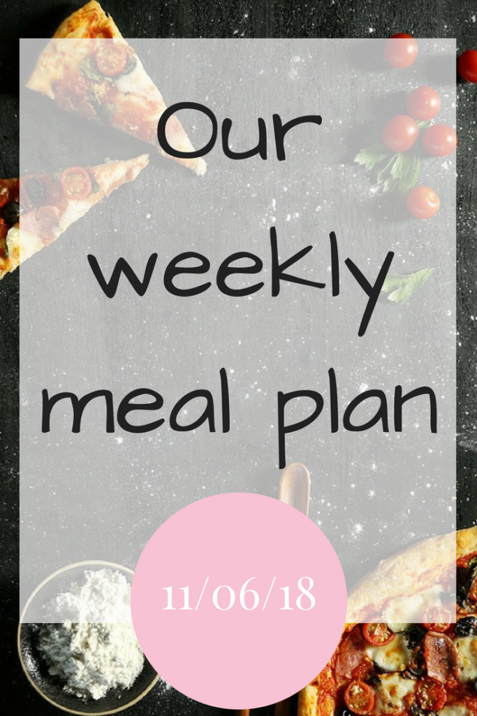 Our weekly meal plan - 11/06/18