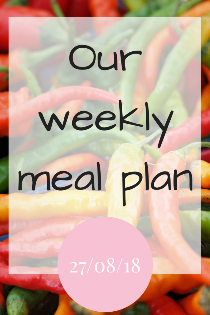 Our weekly meal plan 27/08/18