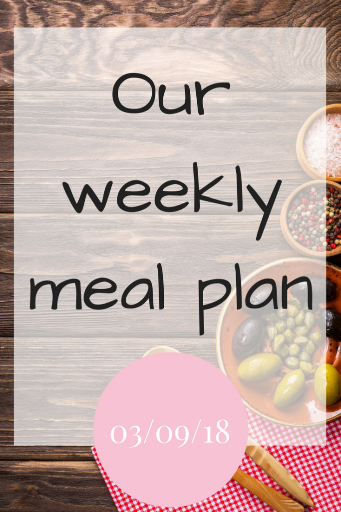 Our weekly meal plan 3rd September 2018