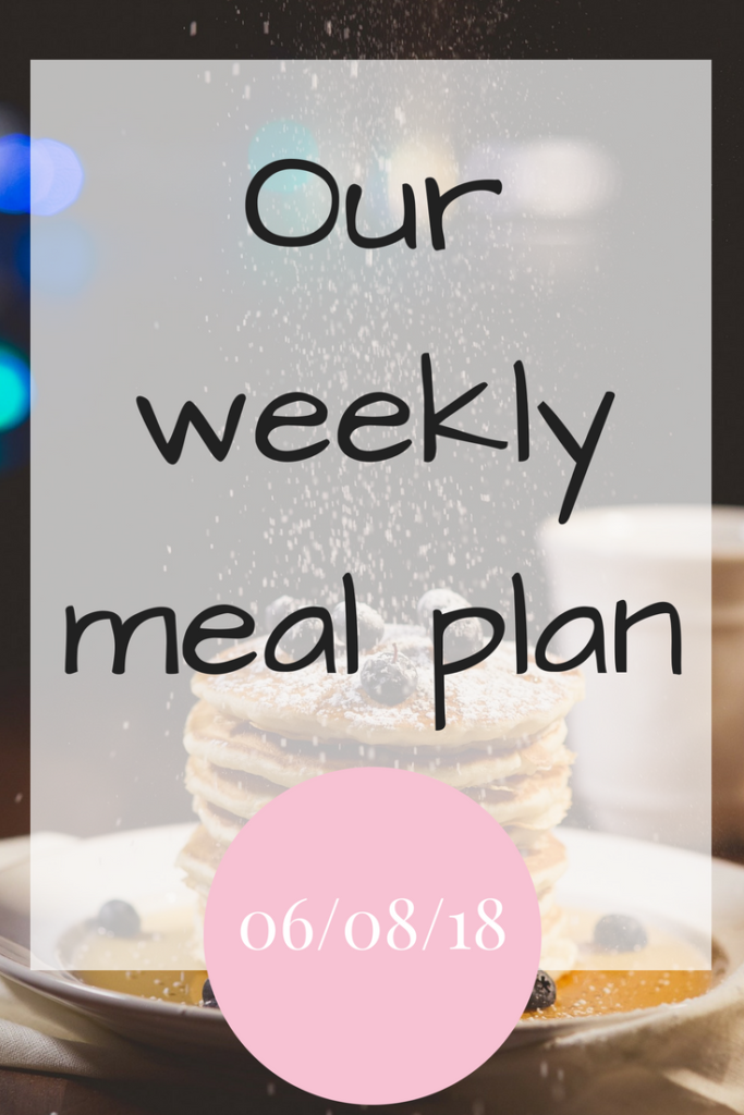 Our weekly meal plan 6th August 2018 #FamilyMealPlanning #MealPlans #DinnerInspration