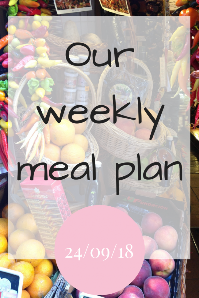 Our weekly meal plan 24th September 2018