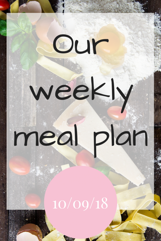 Our weekly meal plan - 10/09/18