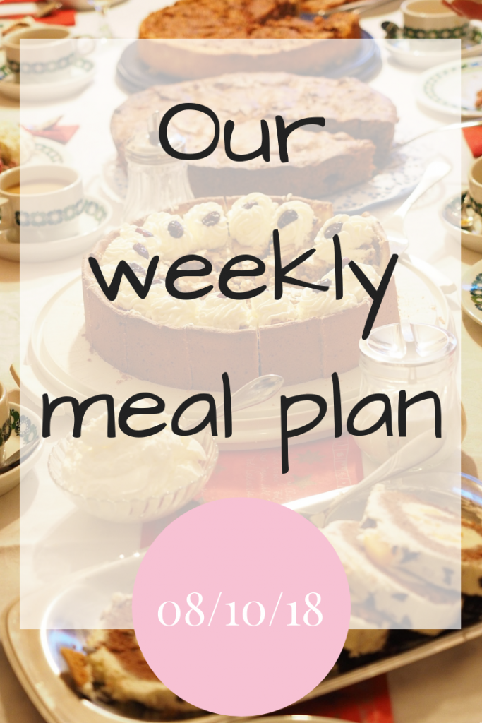 Our weekly meal plan 8th October 2018