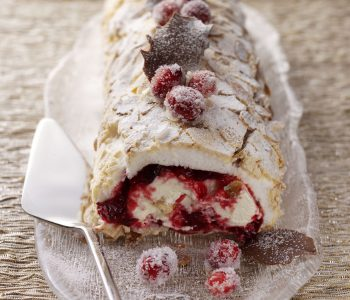 Cranberry meringue roulade with Cointreau orange cream