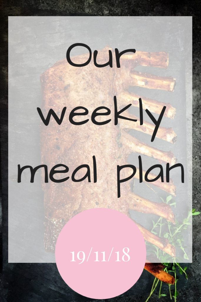 Our weekly meal plan 19th November 2018