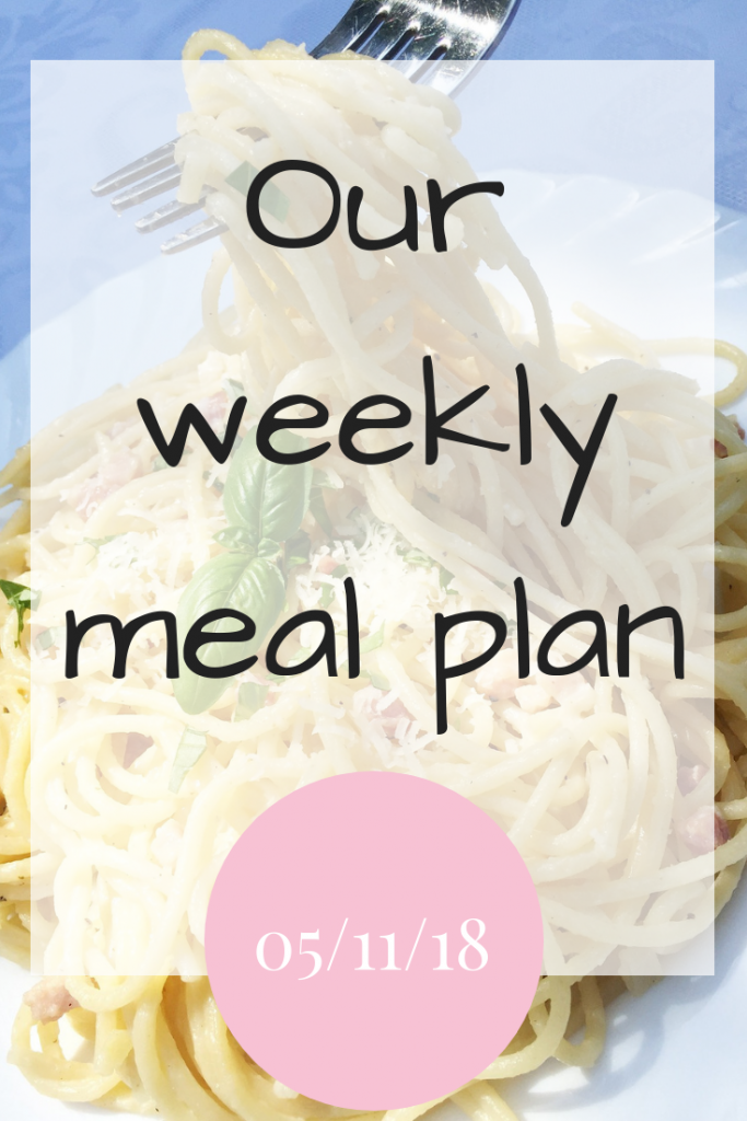 Our weekly meal plan 5th November 2018