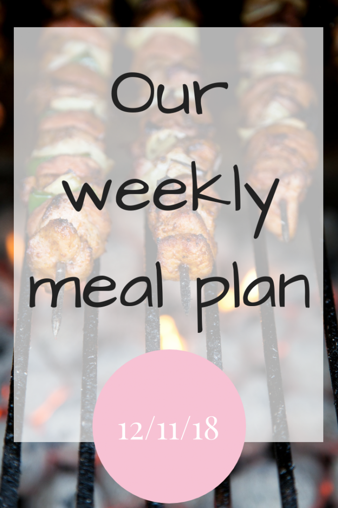 Our weekly meal plan 12th November 2018