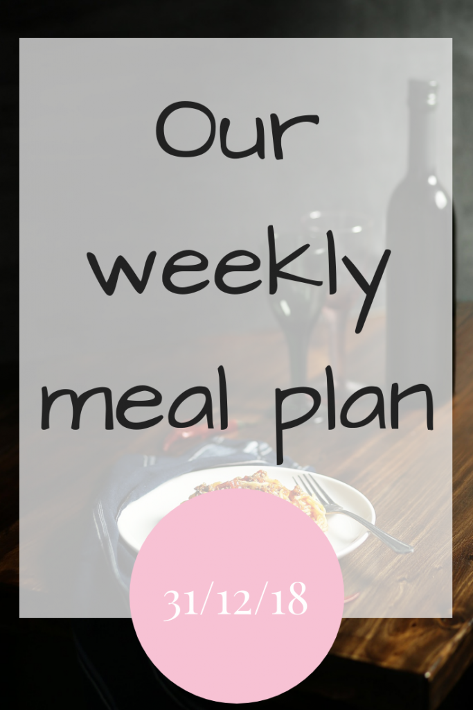 Our weekly meal plan - 31st December 2018