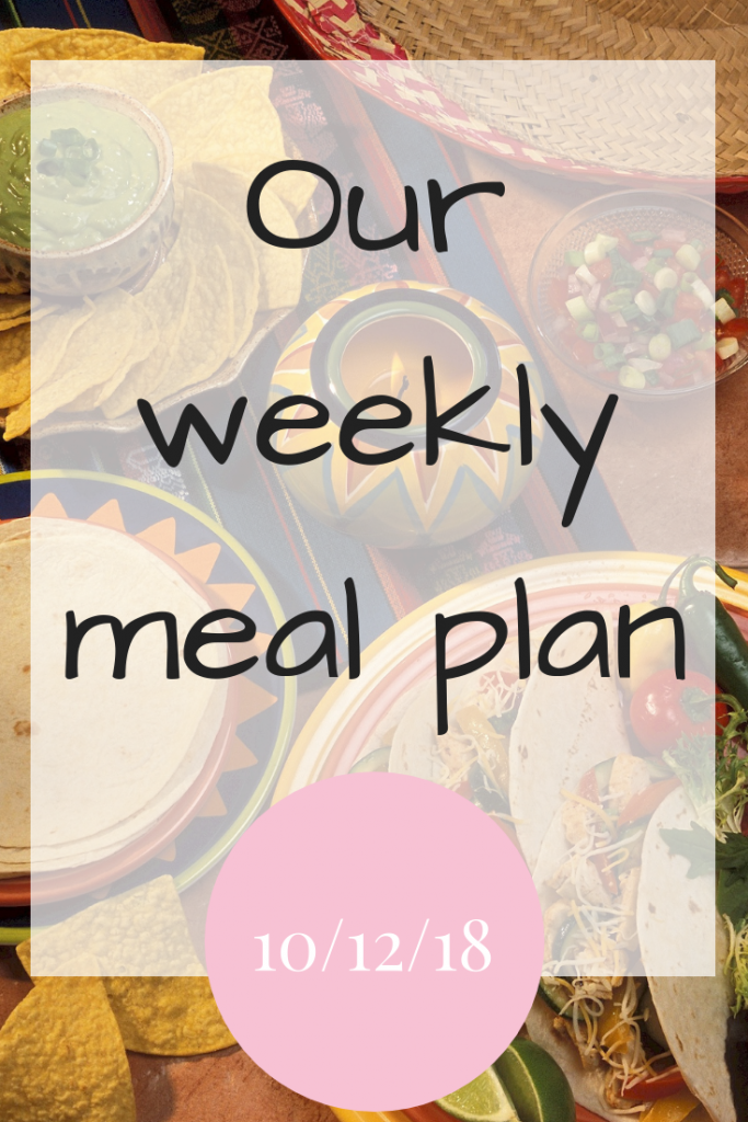 Our weekly meal plan - 10th December 2018