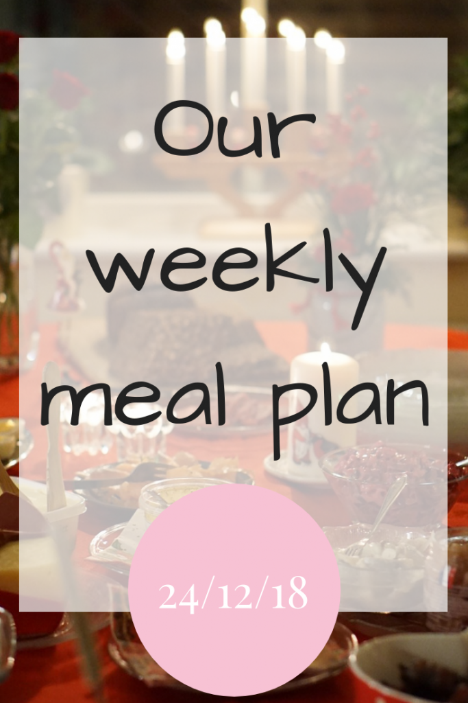Our weekly meal plan - 24th December 2018