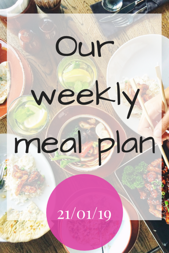 Our weekly meal plan - 21st January 2019