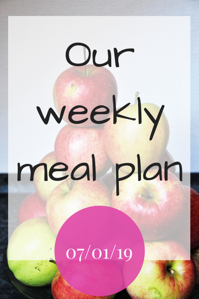 Our weekly meal plan - 7th January 2019