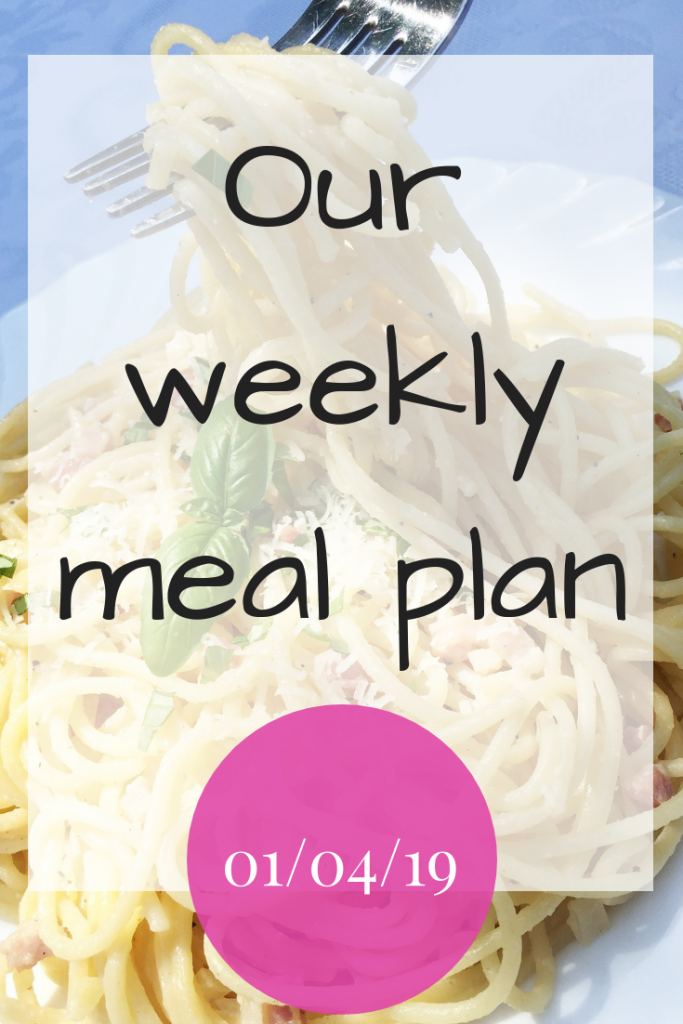 Our weekly meal plan - 1st April 2019