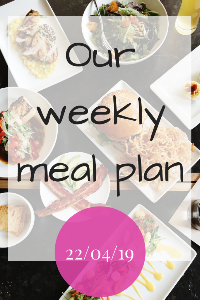Our weekly meal plan 22nd April 2019