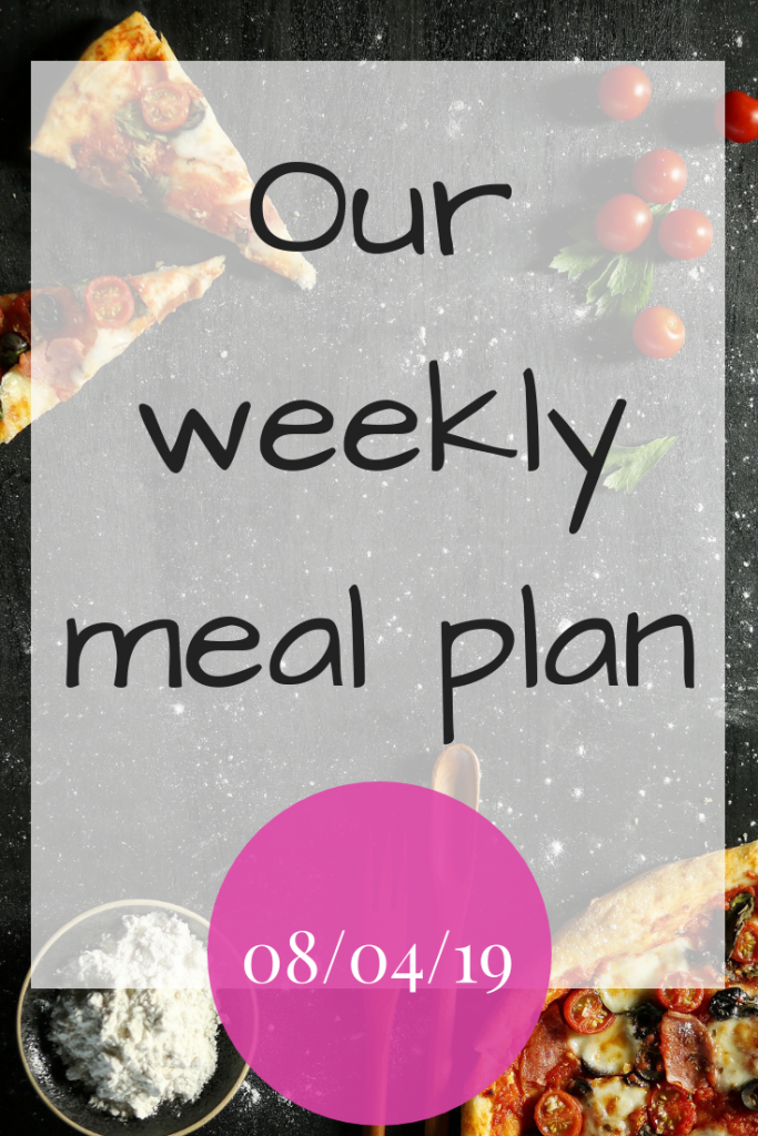 Our weekly meal plan - 8th April 2019