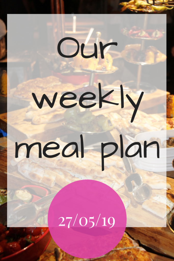 Our weekly meal plan - 27th May 2019