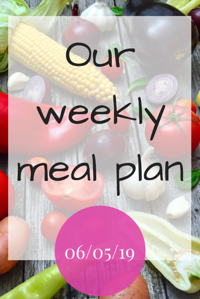 Our weekly meal plan - 6th May 2019