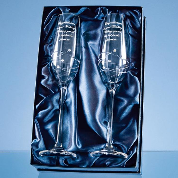 Pair of Personalised Swirl and Swarovski Crystal Champagne Flutes