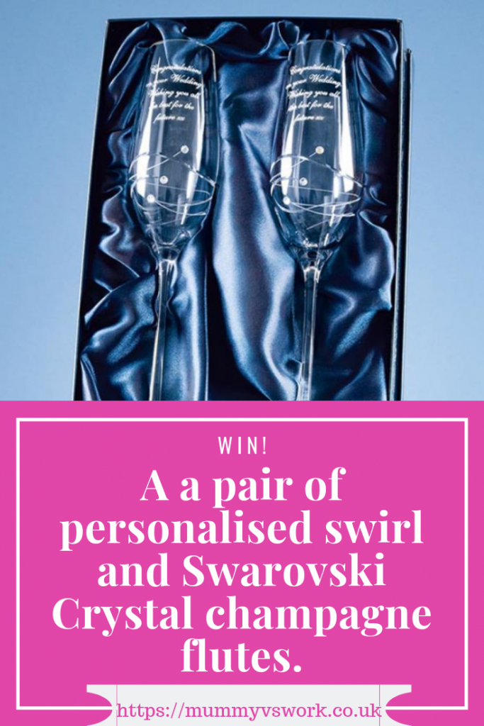Win a pair of personalised swirl and Swarovski Crystal champagne flutes.