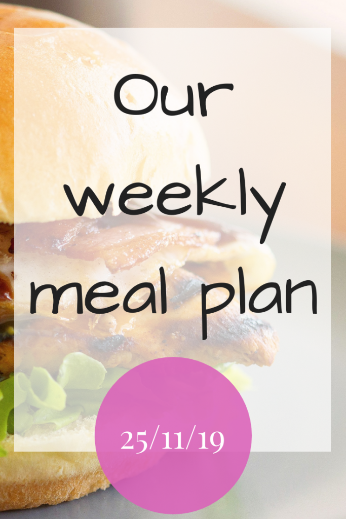 Our weekly meal plan - 25th November 2019