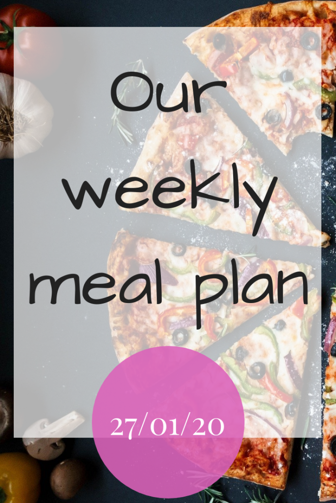 Our weekly meal plan 27th January 2020