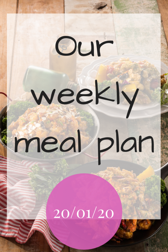 Our weekly meal plan - 20th January 2020
