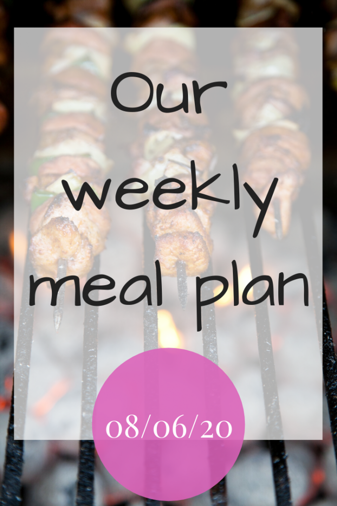 Our weekly meal plan - 8th June 2020