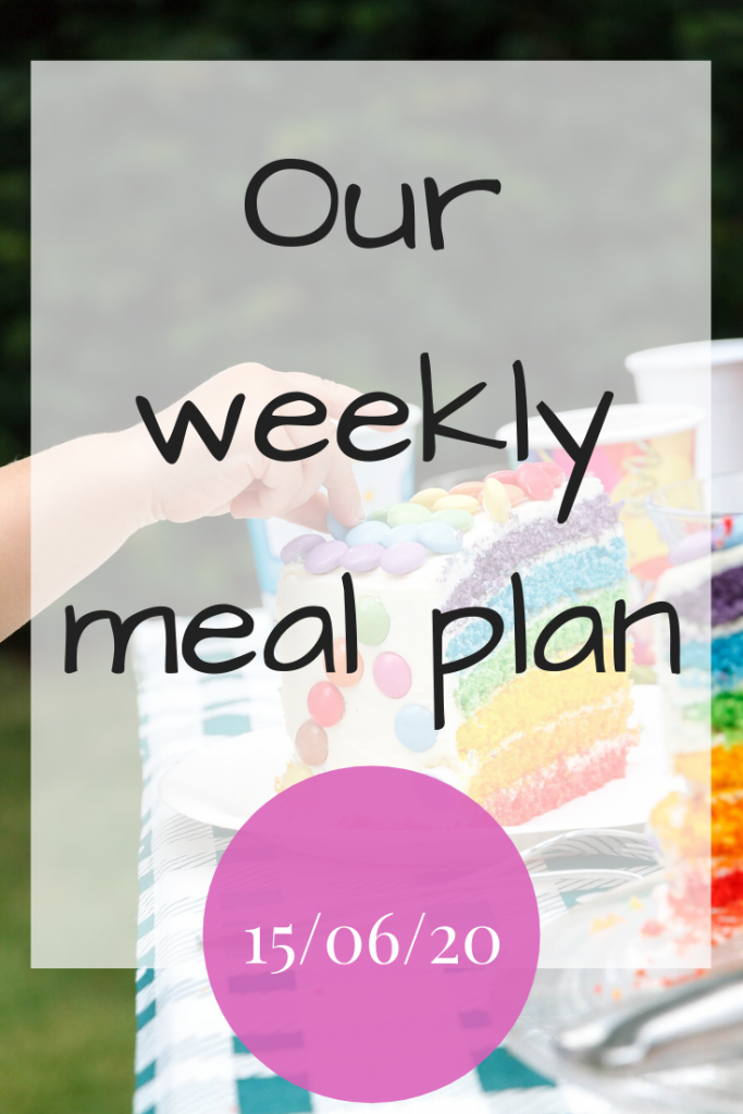Our weekly meal plan - 15th June 2020