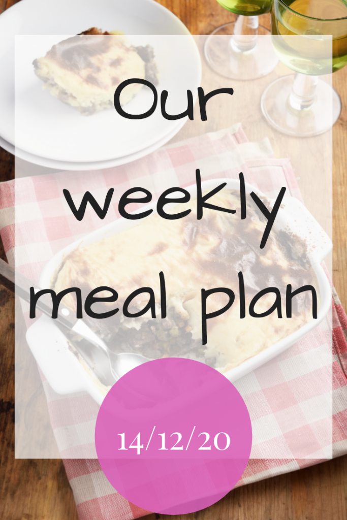Our weekly meal plan – 14/12/20