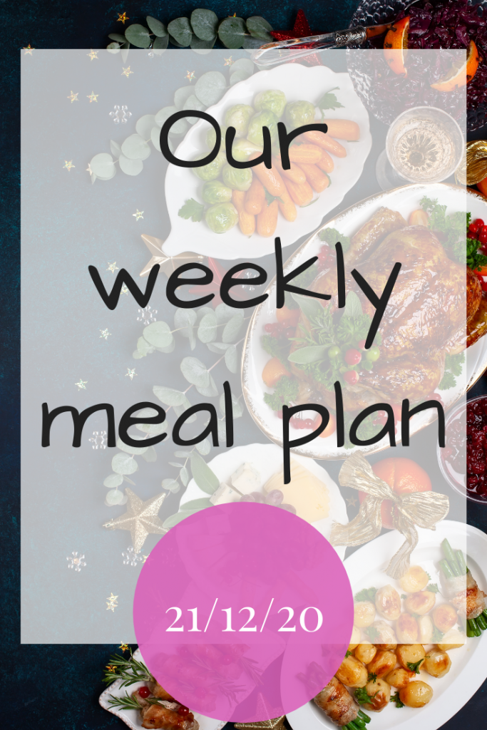 Our weekly meal plan - 21/12/20
