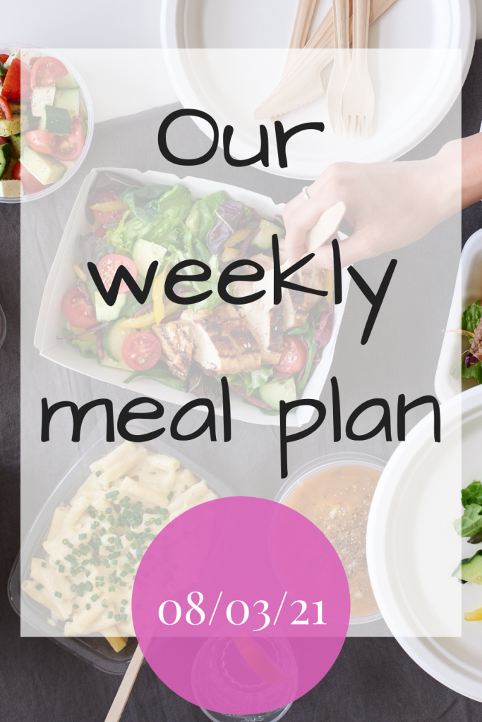Our weekly meal plan - 08/12/21
